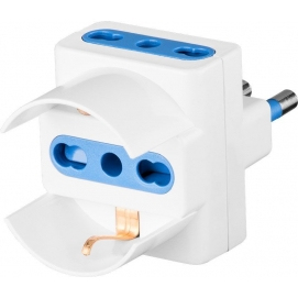 3-way adapter for Italian plug (16 A), white - Mains and surge protection
