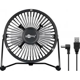 4 Inch Desktop USB fan, black - provides for a cool breeze on your desk