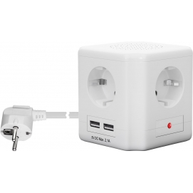 4-way socket cube with switch and 2 USB ports, white, 1.5 m - for the connection of up to four electronic devices and two USB de