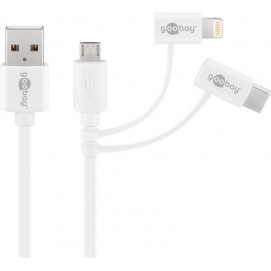 3-in-1 combo cable, white, 1 m - with Micro USB, USB-C and Apple Lightning
