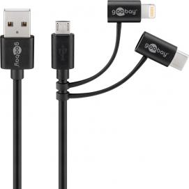 3-in-1 combo cable, black, 1 m - with Micro USB, USB-C and Apple Lightning