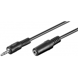 3.5 mm jack extension cable, 3 m, black - 3.5 mm male (3-pin, stereo) 3.5 mm female (3-pin, stereo)
