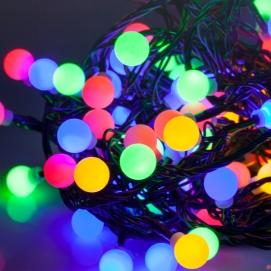 Lampki choinkowe LED zewnętrzne 10m, RGB ze zmianę trybu swiecenia (kulki)